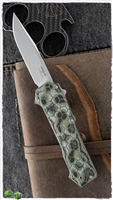 "Hogue Compound OTF AUTO Knife 3.5"" S30V Stonewashed Clip Point Blade, Green G-Mascus G10 and Aluminum Handles - 34038"