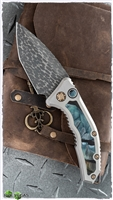 Heretic Knives Medusa Auto Mammoth Inlay VF Damascus Entropic Ti Clip SN009