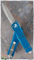 Microtech Troodon D/E 138-10BL Stonewash Blade Blue Handle