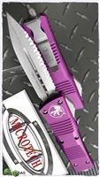 Microtech Combat Troodon D/E 142-12VI Stonewash Full Serrated Blade Violet Handle
