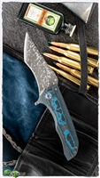 John Gray Tanto Splitter Nitro V Core & Blue Fat Carbon Scale Blue Accents