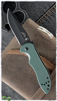 "Kershaw Emerson CQC-5K Liner Lock Knife, Green G-10, 3"" Black Blade"