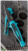 Kershaw Launch 12 Mini Stiletto Auto, Teal Aluminum W/Carbon Fiber, Black CPM-154
