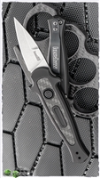 Kershaw Launch 12CA Mini Stiletto Auto, Black Aluminum W/Carbon Fiber, Stonewashed CPM-154