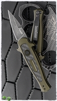 Kershaw Launch 12CA Mini Stiletto Auto, Olive Green Aluminum W/Carbon Fiber, Black Washed CPM-154