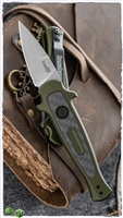Kershaw Launch 12CA Mini Stiletto Auto, Olive Green Aluminum W/Carbon Fiber, Stonewashed CPM-154