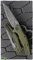 Kershaw Bareknuckle Sub Frame Lock, Olive Green Aluminum, Black Washed 14C28N