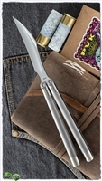 LOGAN Balisongs Fiore Knife & Tashi Bharucha Pinless Balisong Hawk Mirror Finish Blade Ti Double Finish Handle