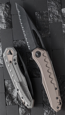 Microtech Sigil MK6 S/E DLC Black Full Serrated Blade Tan Handle