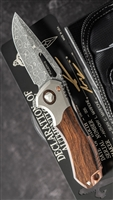 Marfione Custom Protocol Gator Belly Vegas Forge Damascus Ironwood Inlays double Vapor Bolster & Bronze HW SN006