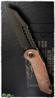 Marfione Custom Warhound Folder DLC Blade and Frame w/ Eggshell Finish Copper Top & Copper Hardware 002