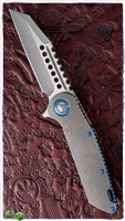 Marfione Custom Warhound Folder AP Finish Handle and Blade w/ Blue Ti HW SN003