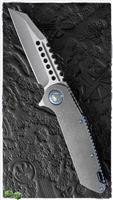 Marfione Custom Warhound Folder AP Finish Handle and Blade w/ Asteria Blue HW SN003