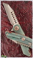 Marfione Custom Warhound Folder Antique Green Finish w/ Copper Hardware