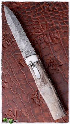 Mikov Predator Leverlock Auto Smooth Bone Damascus w/ Filework RWL34 Blade