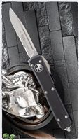 Microtech Ultratech S/E 121-11 Stonewash Serrated Black Handle