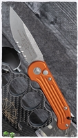 Microtech LUDT Auto 135-11OR Orange Handle Stonewash Finish Serrated Blade