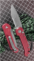 Microtech LUDT Auto 135-11RD Red Handle Stonewash Finish Serrated Blade