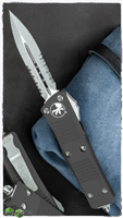 Microtech Troodon D/A 138-11 Stonewash Serrated Double Edge