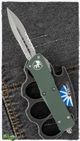 Microtech Troodon D/A 138-11 OD Stonewash Serrated Double Edge OD Green Handle