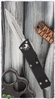 Microtech Troodon D/E 138-6 Black Handle Satin Full Serrated Blade.
