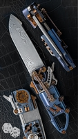 "Steigerwald ""Steamie"" Steampunk/Horological Knife w/ Blue Accents"