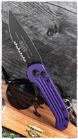 Microtech LUDT 135-2PU Black Serrated Blade Purple Handle