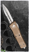 Microtech Troodon D/A 138-5TA Satin Serrated Double Edge Tan Handle
