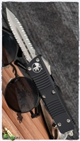 Microtech Troodon D/E 138-D12 Black Handle Stonewash Double Full Serrated Blade.