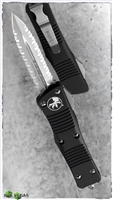Microtech Troodon D/E 138-D6 Black Handle Satin Double Full Serrated Blade.