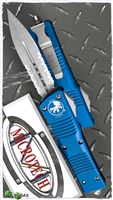 Microtech Combat Troodon D/E 142-11BL Stonewash Serrated Blue Handle