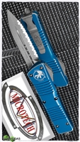 Microtech Combat Troodon D/E 142-12DBL Full Serr Distressed Blue