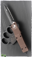 Microtech Combat Troodon D/A OTF 142-3TN D/E Full Serrated Black Blade Tan Handle