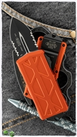 Microtech Exocet 157-2OR Partial Serrated Black Blade Orange Handle
