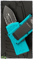 Microtech Exocet 157-2TQ Partial Serrated Black Blade Turquoise Handle