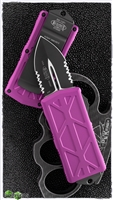 Microtech Exocet 157-2VI Partial Serrated Black Blade Violet Handle