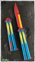 Microtech Tachyon III Balisong Knife Red Yellow Blue (Superman)