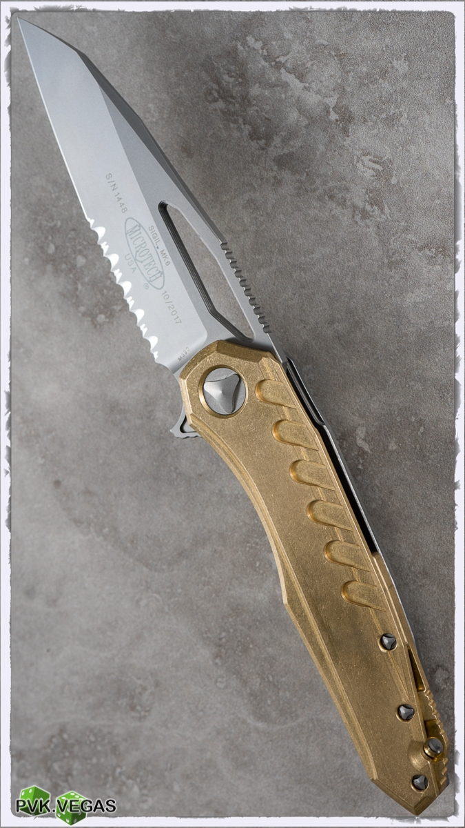 Microtech Sigil MK6 Brass Handle Serrated Blasted Blade