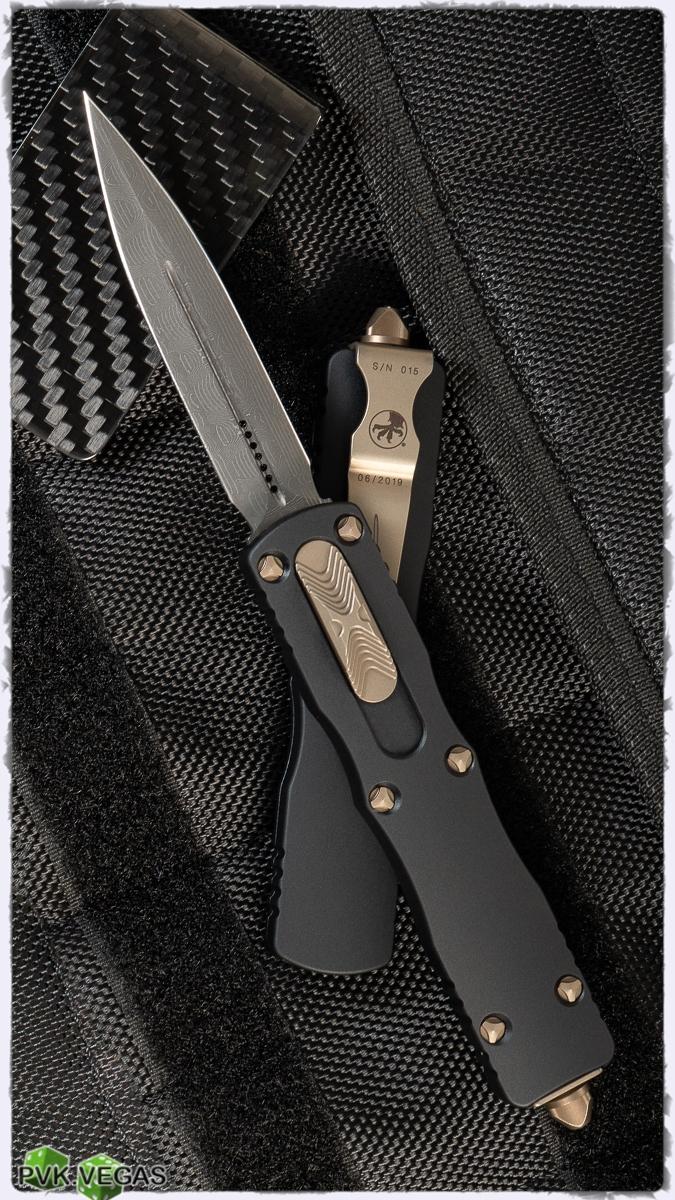 Microtech Dirac Darascus 225-16 Damascus Blade Bronzed Hardware SN017
