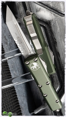 Microtech UTX-85 T/E 233-11OD Stonewash Serrated Blade Green Handle