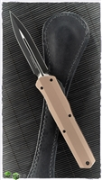 Microtech Cypher D/E 242S-1TA Smooth Body Black Blade Tan Handle