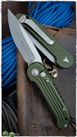 Microtech LUDT Auto 135-10OD Stonewash Blade OD Green Handle