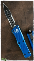 Microtech Troodon D/E 138-2BL Black Serrated Blue Handle