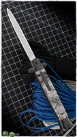 "11"" Classic Italian Style D/A OTF White Snake Skin Handle Black Bolsters Silver Dagger"