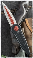 Paragon Warlock Gravity Blade Trap Folding Knife Black Handle Two Tone Red & Silver Blade Cross Shield Sword Handle