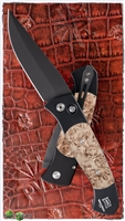 Protech Brend #3 Auto 1307 Black Blade Maple Burl Inlays