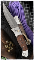 Protech Brend 3 Steel Custom Damascus Blade Ironwood Inlays