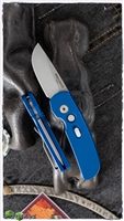 Protech CalMigo CA Legal w/ Safety 2201-SW Blue Handle Stonewash Blade