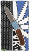 "Custom Protech Magic ""Whiskers"" Hidden Scale Release Auto BR-1 TI/IW Ti Handle Cocobolo Inlay -Chad Nichols Virus Damascus Blade"