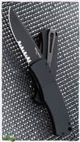 "Protech Magic ""Whiskers"" Hidden Scale Release Auto 1.8 Solid Black Handle Patterned Bolster Black Serr Blade"